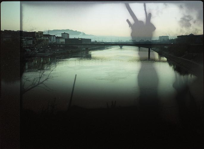 Collage; Europa, Slowenien; Maribor, Sonnenaufgang ueber dem Drau; 1996; 2015